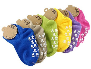 Lian LifeStyle Unisex Children 6 Pairs Non Slip Pure Cotton Socks Multi Color