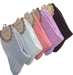 Lovely Annie 2 Pairs Women's Girls' Wool Socks Striped 5 Colors Size 7-9
