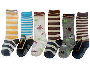 Lian LifeStyle Baby Children 3 Pairs Knee High Non-Skid Non-Slip Cotton Socks Learning Socks Great Grip Multi Color