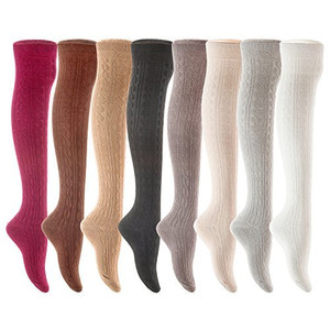 Lian LifeStyle Women's 4 Pairs Over Knee High Cotton Socks Size 6-9(Navy)