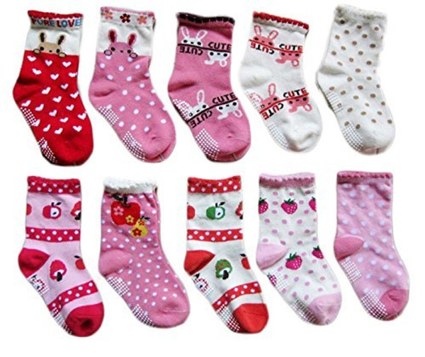 Lian LifeStyle Children's 10 Pairs Pack Non Slip Cotton Crew Socks Size(0Y-3Y)