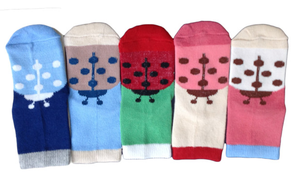Lian LifeStyle Children's 5 Pairs Pure Cotton Crew Socks Strips Size(1Y-3Y)