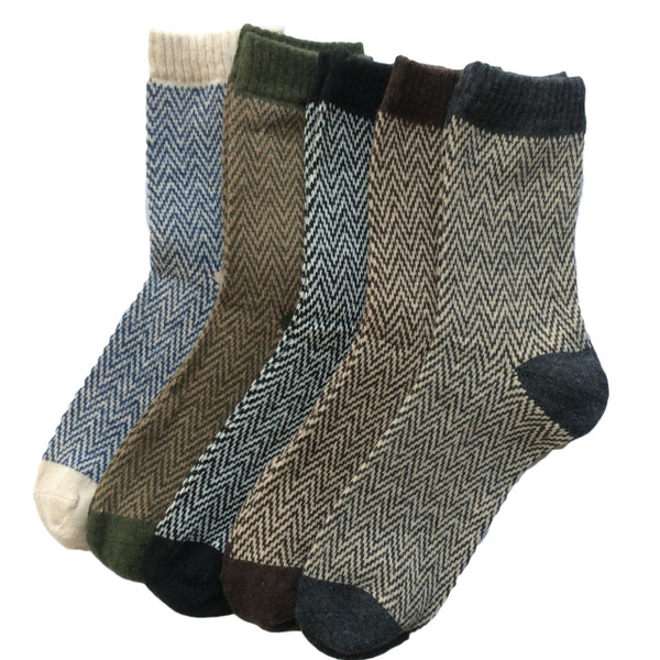 Lovely Annie Women's 5 Pairs Pack Rabit Hair&Wool Crew Socks Size 8-11 Stripped Women's Clothing