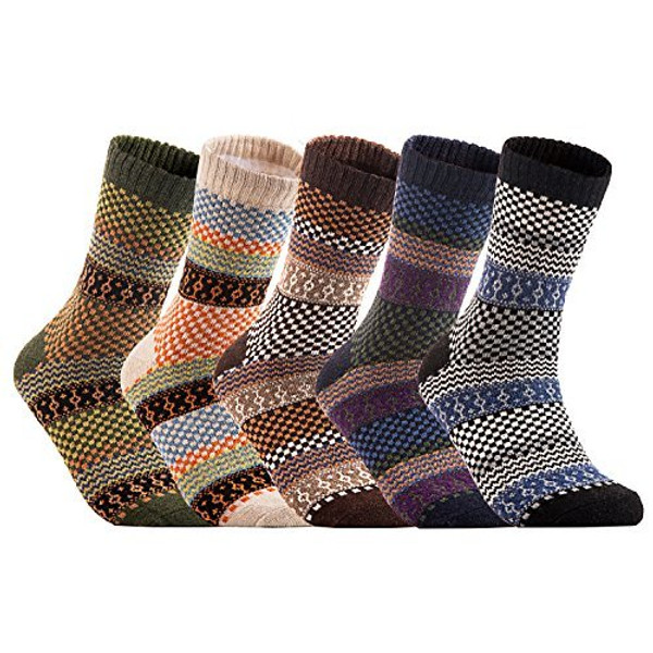 Lian LifeStyle Women's 5 Pairs Warm Casual Wool Crew Winter Socks Classic Square HM1401 Size 7-10
