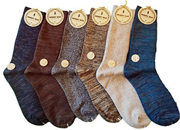 Lian LifeStyle Women's 6 Pairs Mid Calf Cotton Socks Size 7-10 Multi Color