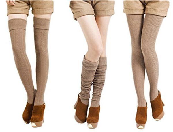 Lian LifeStyle Women's 3 Pairs Fashion Thigh High Cotton Socks Size 6-9(US)
