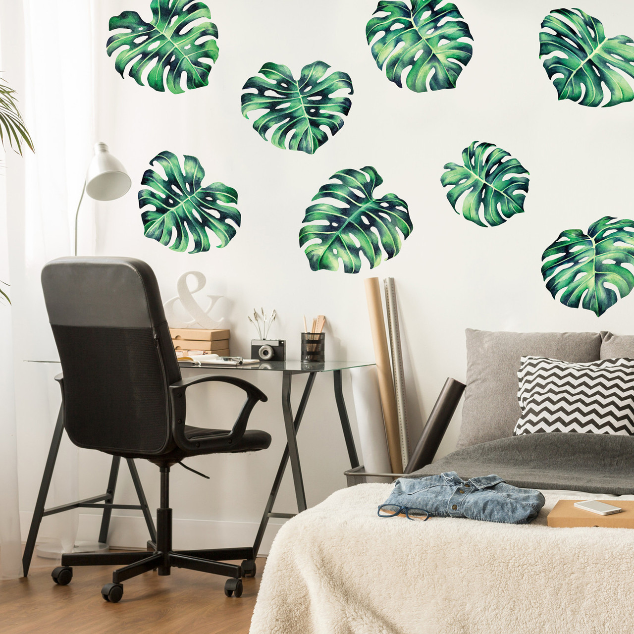 Tropical Philodendron Watercolor Wall Decal by Chromantics & Tropical Philodendron Watercolor Wall Decal - Tropical Plant Wall ...
