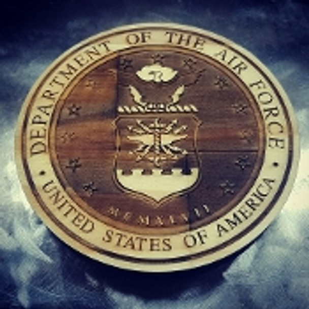 """7"""" Wood Department of the Air Force Seal"""