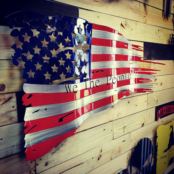 """46"""" x 27"""" Painted """"We The People"""" Battle Worn Flag"""