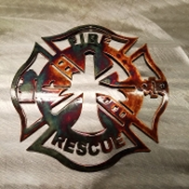 Metal Fire Fighter Cross Ornament