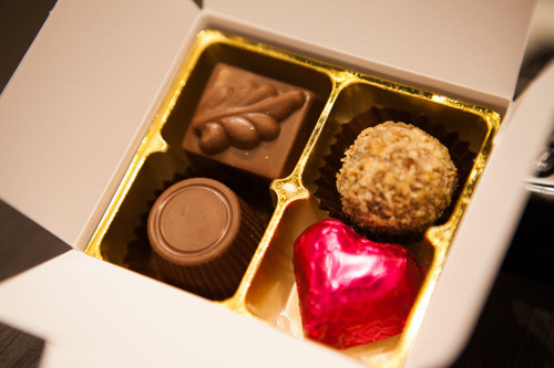 White box - 4 chocolates with one cerise heart $9.50