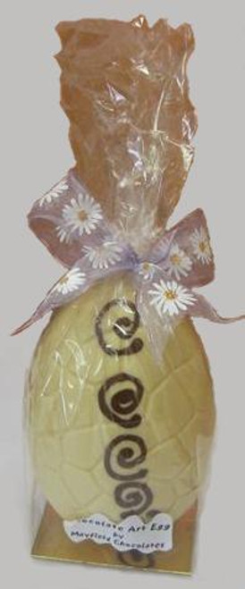 Hollow white chocolate art egg 165mm high $27.50