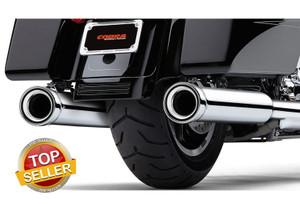 Cobra 4 inch Neighbor Hater Slip On Mufflers for '96-16 Harley Davidson Touring Models - Chrome