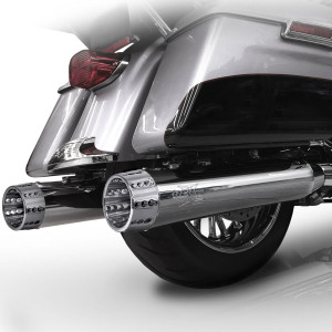 RCX 4.5 inch Slip On Mufflers for Harley Davidson Touring Models '99-16 - Chrome (10 Tip Styles To Choose From)