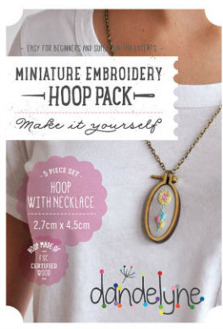 Dandelyne Miniature Embroidery Hoop with Necklace  5 piece, 2.7cm x 4.5cm Vertical Oval Hoop with Necklace Set.  Embroider, cross stitch or applique, whatever you choose to do, frame it with this tiny hoop  Contains:      2.7cm x 4.5cm miniature horizontal oval hoop     2 Bolts and screw     Backing Piece with Centre Plate     Antique Bronze Plated Necklace (70cm in length)     Jump Ring (To shorten the chain)   Instructions enclosed, all you need is a wild imagination!  Easy for Beginners and Super Fun for Experts!  Price: $17.14 each