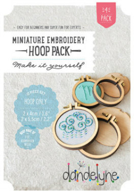 Dandelyne Assorted Miniature Embroidery Hoops   12 piece set,  4cm & 5.5cm Embroidery Hoops.  Embroider, cross stitch or applique, whatever you choose to do, frame it with this tiny hoop.  Contains:      2x 4cm & 2x 5.5cm miniature embroidery hoops     8 Bolts and 4 screws     4x Backing Pieces with 4x Centre Plates.   Instructions enclosed, all you need is a wild imagination!  Easy for Beginners and Super Fun for Experts!   Price: $43.70 each
