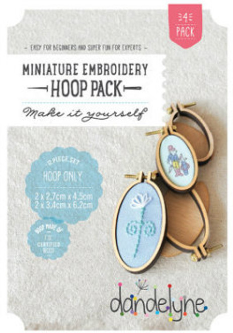 Dandelyne Assorted Vertical Oval Embroidery Hoops   12 piece set, 2.7cm x 4.5cm & 3.4cm x 6.2cm Oval Embroidery Hoops.  Embroider, cross stitch or applique, whatever you choose to do, frame it with this tiny hoop.  Contains:      2x (2.7cm x 4.5cm) & 2x (3.4cm x 6.2cm) miniature embroidery hoops     8 Bolts and 4 screws     4x Backing Pieces with 4x Centre Plates.   Instructions enclosed, all you need is a wild imagination!  Easy for Beginners and Super Fun for Experts!   Price: $43.70 each