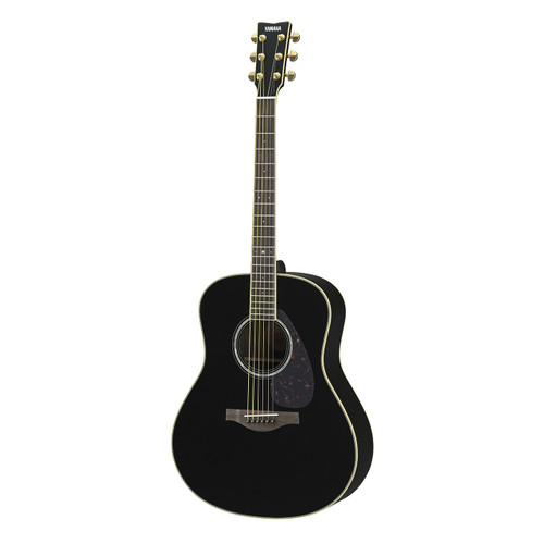 Yamaha LL6RBLHC Handcrafted Acoustic Guitar with Hard-Shell Case; Black