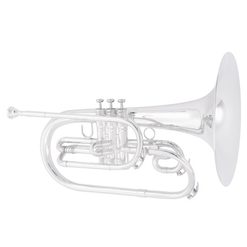 King Professional Model 1122SP Marching French Horn, Silver Plated