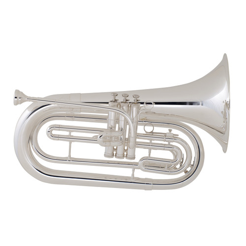 King Step-Up Model 1124SP Marching Baritone, Silver Plated