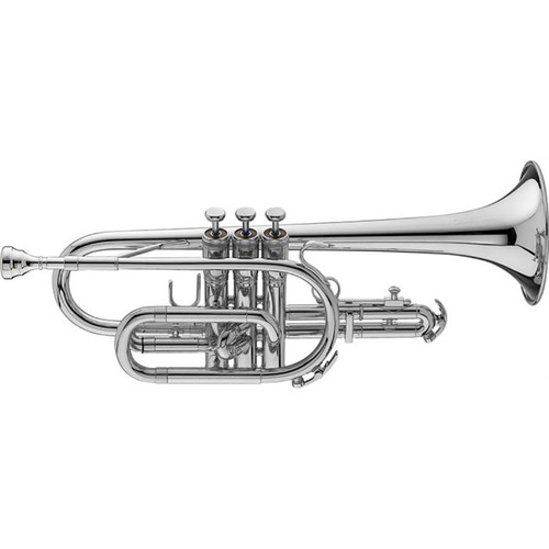 King Student Model 603WSP Cornet, Silver Plated, Wood Shell Case