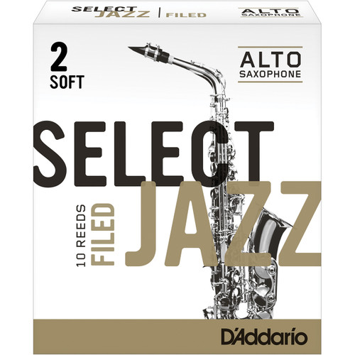 Rico Select Jazz Alto Sax Reeds, Filed, Strength 2 Strength Soft, 10-pack