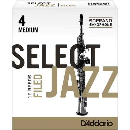 Rico Select Jazz Soprano Sax Reeds, Filed, Strength 4 Strength Medium, 10-pack