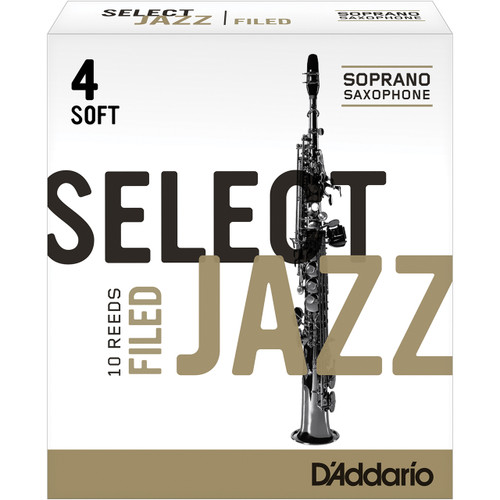 Rico Select Jazz Soprano Sax Reeds, Filed, Strength 4 Strength Soft, 10-pack
