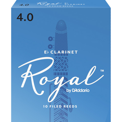 Rico Royal Bb Clarinet Reeds, Strength 4.0, 10-pack