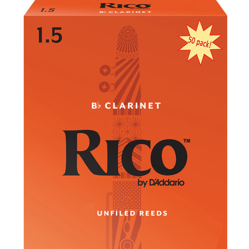 Rico Bb Clarinet Reeds, Strength 1.5, 50-pack