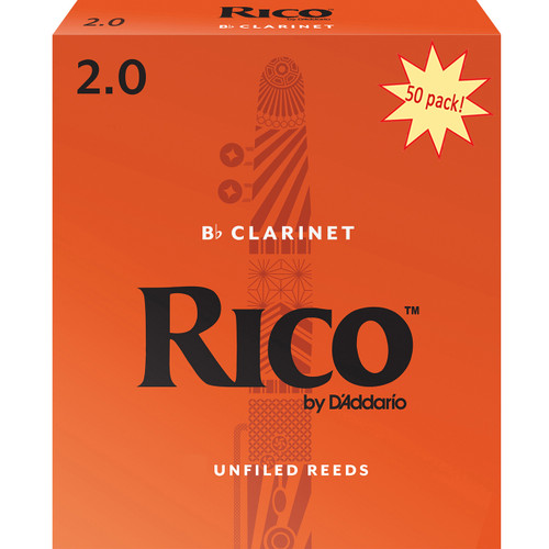Rico Bb Clarinet Reeds, Strength 2.0, 50-pack