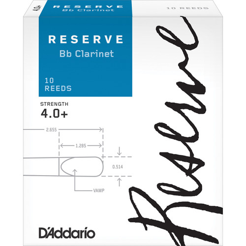 D'Addario Reserve Bb Clarinet Reeds, Strength 4.0+, 10-pack