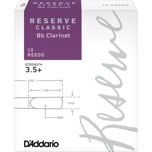 D'Addario Reserve Classic Bb Clarinet Reeds, Strength 3.5+, 10-pack