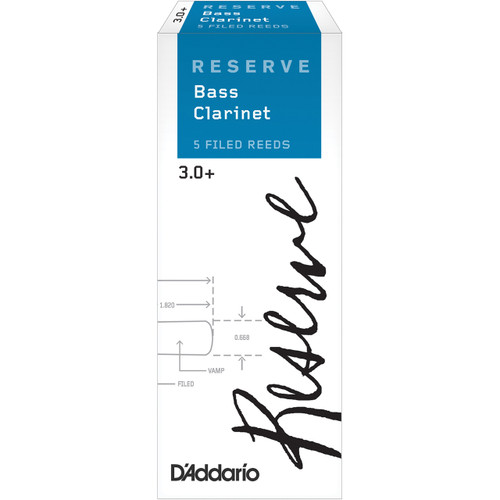 D'Addario Reserve Bass Clarinet Reeds, Strength 3.0+, 5-pack
