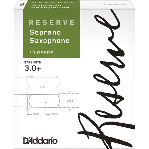 D'Addario Reserve Soprano Saxophone Reeds, Strength 3.0+, 10-pack