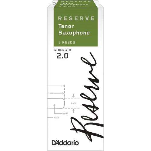 D'Addario Reserve Tenor Saxophone Reeds, Strength 2.0, 5-pack