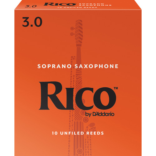 Rico Soprano Sax Reeds, Strength 3.0, 10-pack