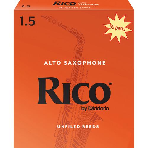 Rico Alto Sax Reeds, Strength 1.5, 50-pack