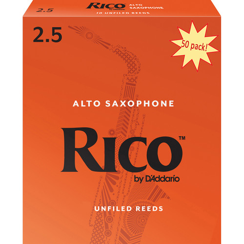 Rico Alto Sax Reeds, Strength 2.5, 50-pack