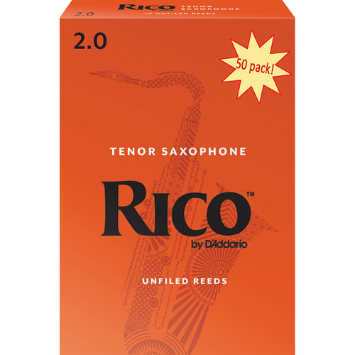 Rico Tenor Sax Reeds, Strength 2.0, 50-pack