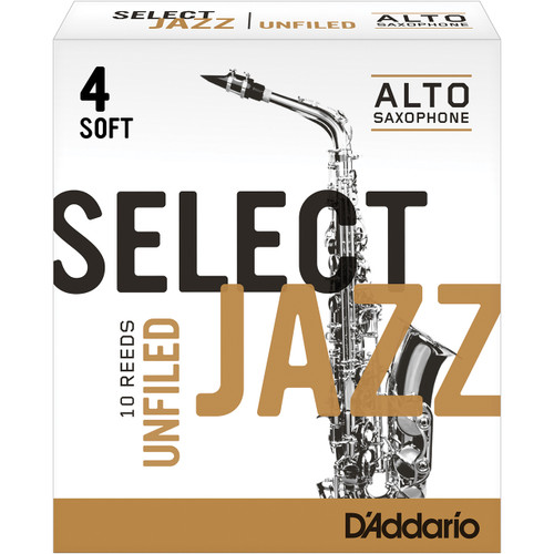 Rico Select Jazz Alto Sax Reeds, Unfiled, Strength 4 Strength Soft, 10-pack