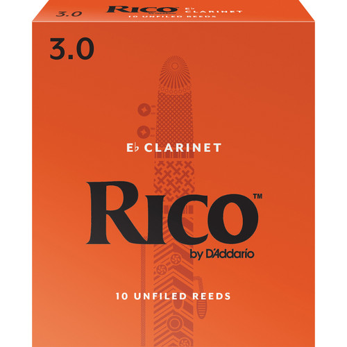 Rico Eb Clarinet Reeds, Strength 3.0, 10 Pack