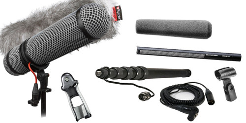 Sennheiser MKH416 Shotgun Mic W/ K-Tek KEG100CCR Graphite Cabled Boompole & Rycote Super-Blimp NTG Windshield Kit