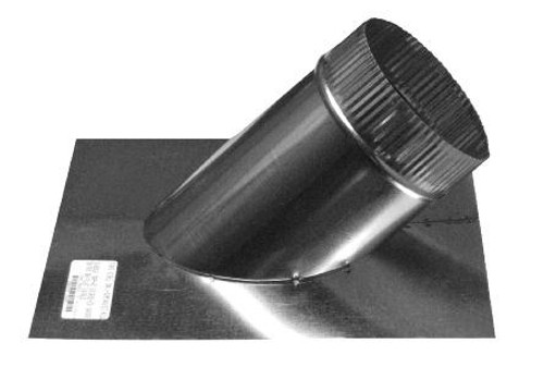 round duct attached to flat plate  at 45 degree angle to improve air flow and efficiency
