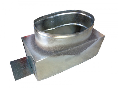 Rectangular sheet metal box to connect round duct to register