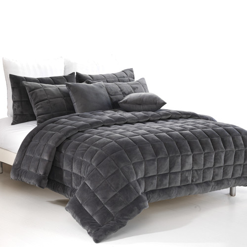 Augusta Super King Quilt / Coverlet Set - Charcoal