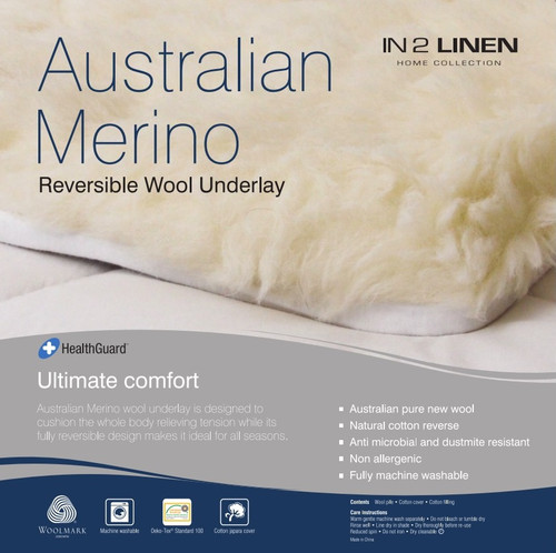 Woollen Underlay Super King  Bed Size Australian Merino Wool Reversible