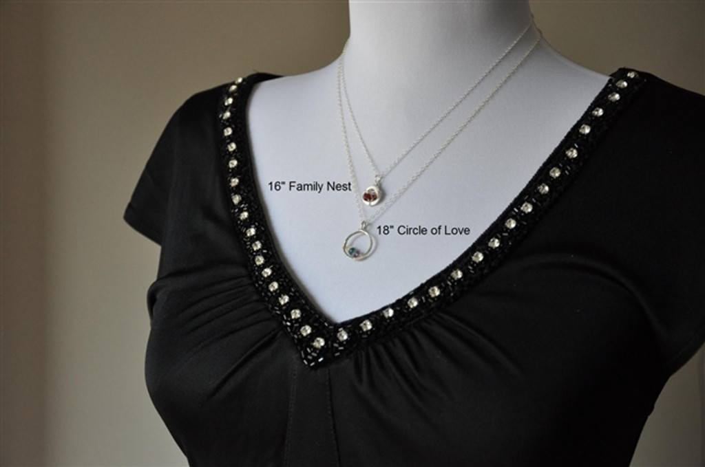 CIRCLE OF LOVE custom genuine mother's birthstone necklace (2 stones)