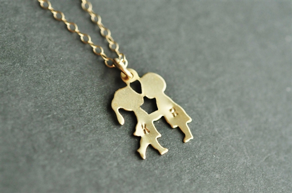 FIRST KISS necklace with two hand stamped monograms / initials (14k gold filled)