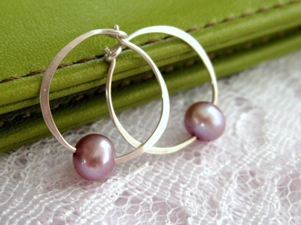 forged hoop earrings with lilac pearl accent